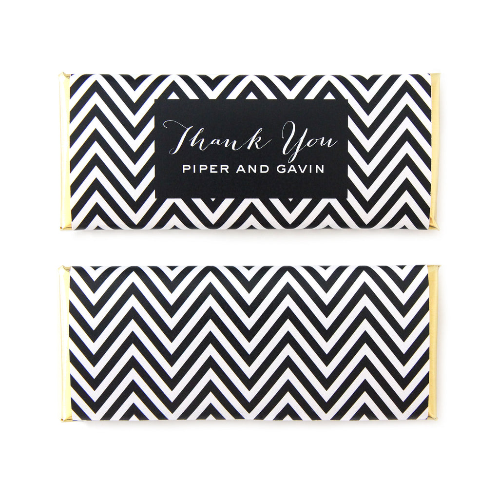 Mod Chevron Personalized Candy Bar Wrapper - Sweet Paper Shop - Black, White, Gold Foil