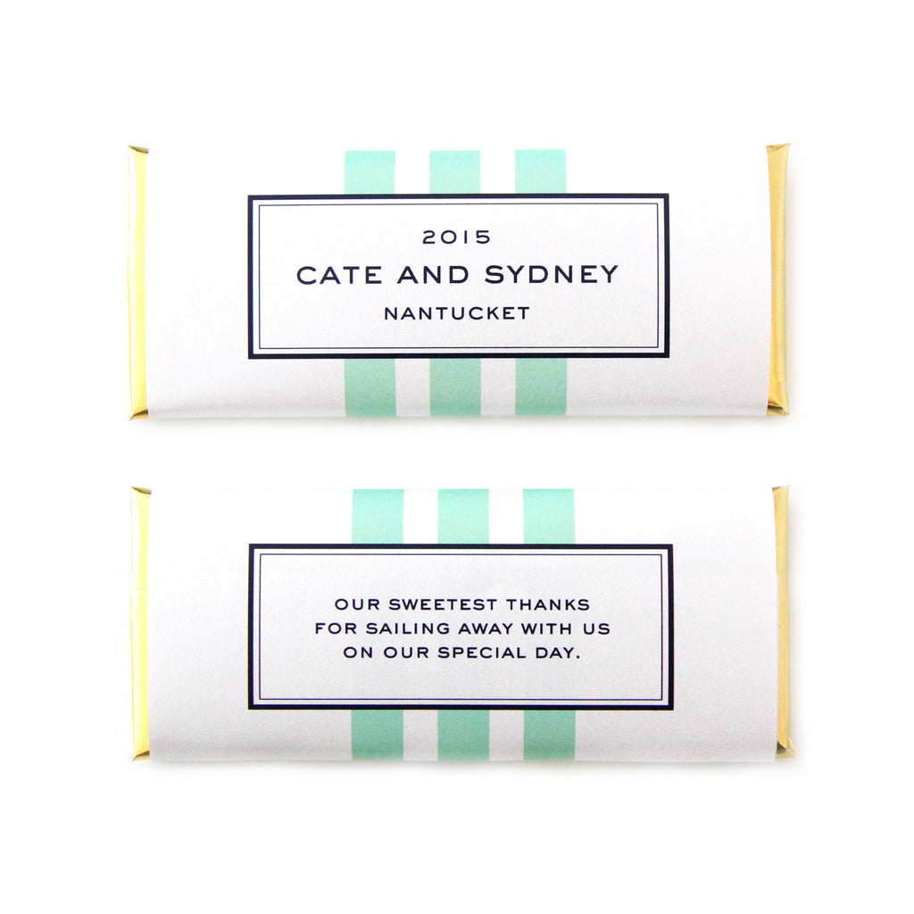 Nautical Stripes Personalized Candy Bar Wrapper - Sweet Paper Shop - Navy Blue, Mint, Gold Foil