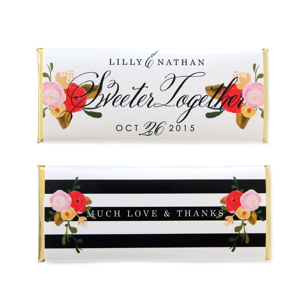 Roses and Stripes Personalized Candy Bar Wrapper - Sweet Paper Shop - Black, White, Pink, Red, Gold Foil - Wedding, Birthday & Baby Shower Favor