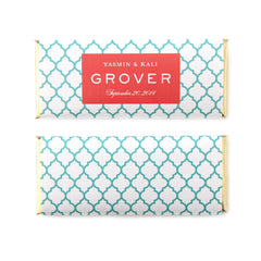 Moroccan Trellis Rectangle Frame Personalized Candy Bar Wrapper - Sweet Paper Shop
