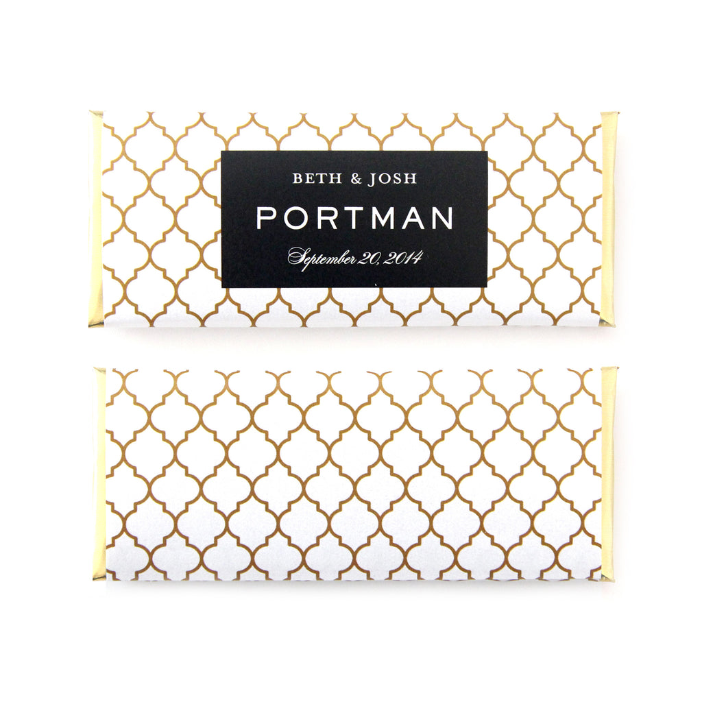 Moroccan Trellis Rectangle Frame Personalized Candy Bar Wrapper - Sweet Paper Shop - Black, White, Gold Foil