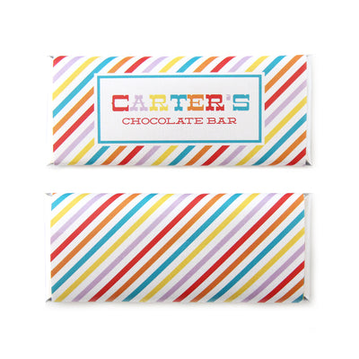 Rainbow Stripes Personalized Candy Bar Wrapper - Sweet Paper Shop