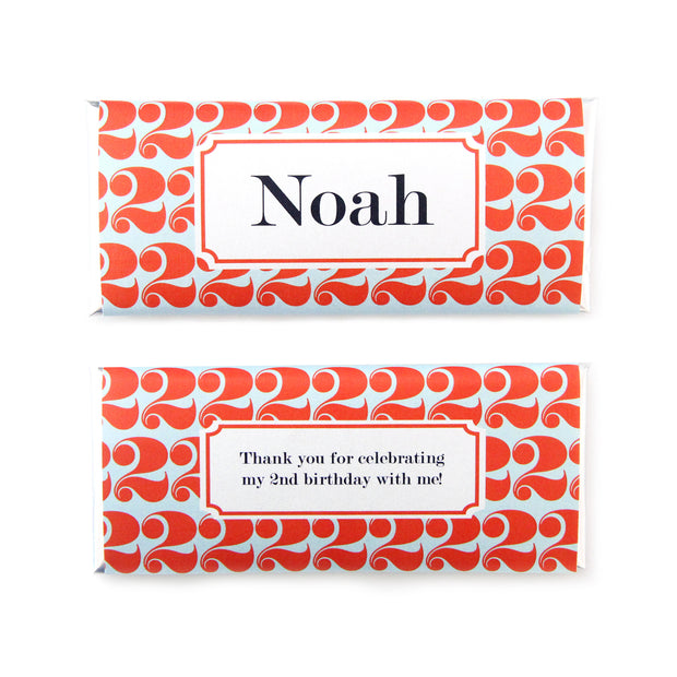 Birthday Number Personalized Candy Bar Wrapper - Sweet Paper Shop - Orange, Navy, Sky Blue, Silver Foil