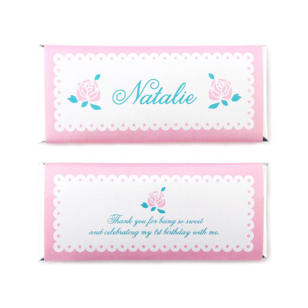 Shabby Chic Rose Personalized Candy Bar Wrapper - Sweet Paper Shop