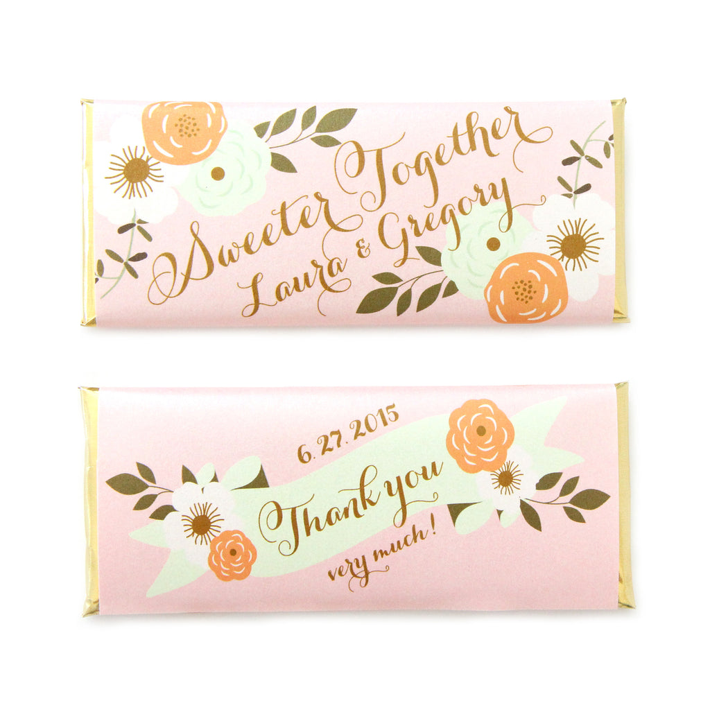 Country Rustic Floral Personalized Candy Bar Wrapper - Sweet Paper Shop - Blush Pink, Orange, and Mint