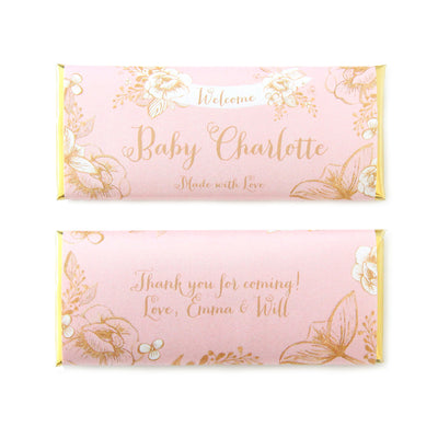 Gold Floral Rustic Baby Shower Personalized Candy Bar Wrapper in Blush Pink - Sweet Paper Shop