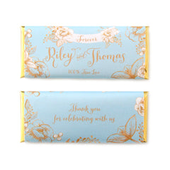 Gold Floral Rustic Wedding Personalized Candy Bar Wrapper - Sky Blue and Gold Foil  - Sweet Paper Shop