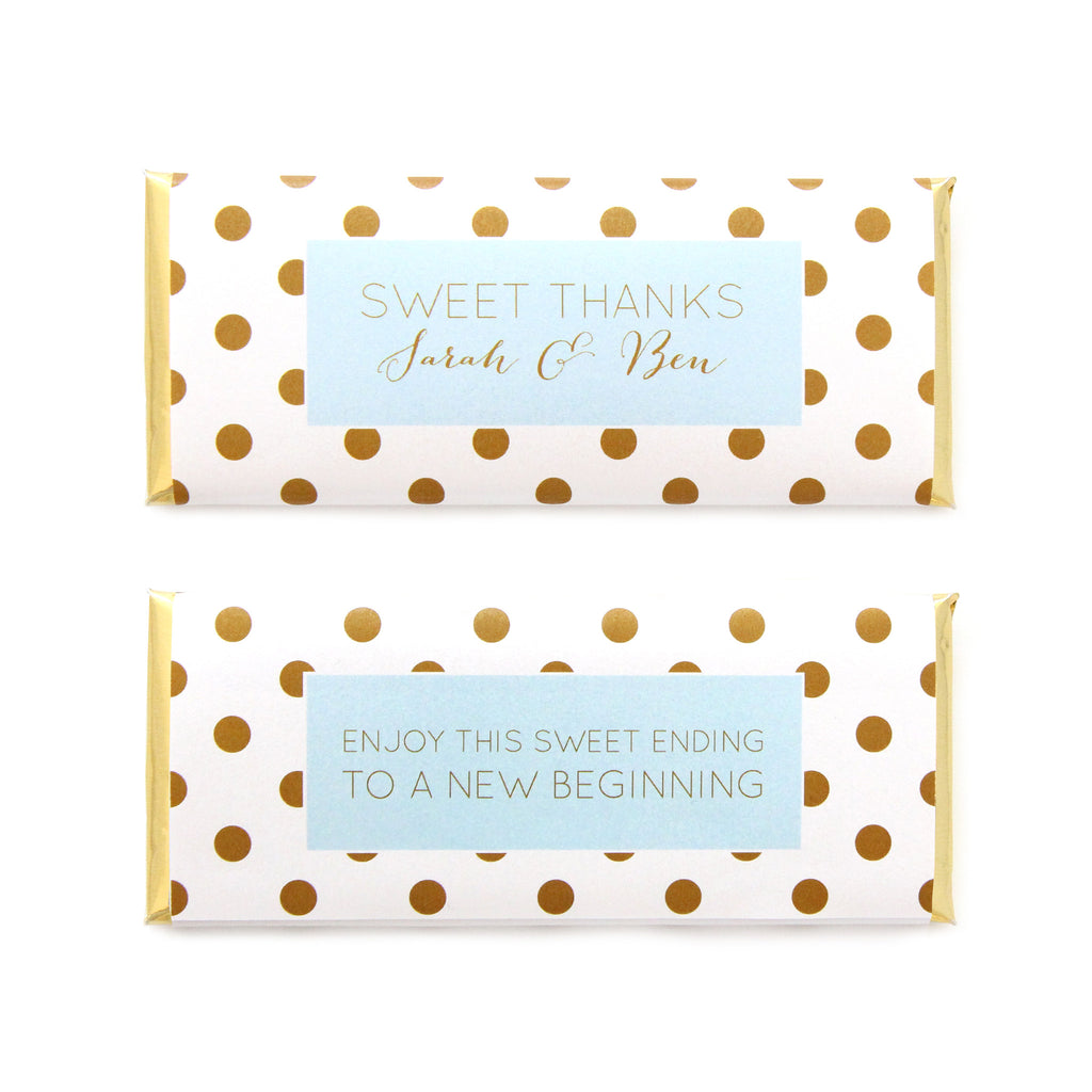 Simply Polka Dots Personalized Candy Bar Wrapper - Sweet Paper Shop - Sky Blue, Gold Foil - Wedding Favor