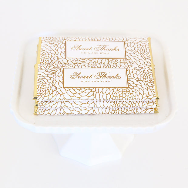 Elegant Floral Personalized Candy Bar Wrapper shown in Gold and White with classic foils - Sweet Thanks Wording Idea - Wedding & Bridal Shower Custom Chocolate Favors | Sweet Paper Shop