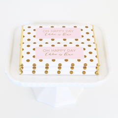 Simply Polka Dots Personalized Candy Bar Wrapper - Sweet Paper Shop - Blush Pink, Gold Foil - Wedding Favor