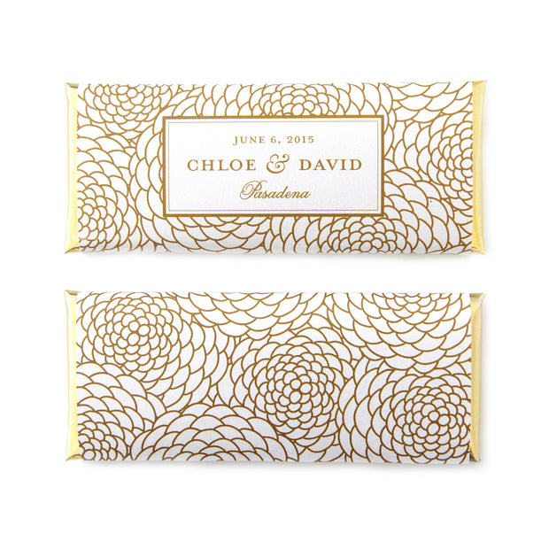 Floral Wedding Personalized Candy Bar Wrapper - Sweet Paper Shop - White and Gold Foil - Wedding Favor
