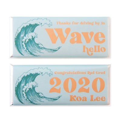 Retro Surf Wave - Personalized Candy Bar Wrapper and Foil