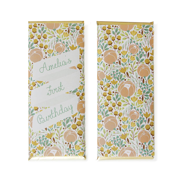 Peach and Green Floral - Personalized Candy Bar Wrapper and Foil