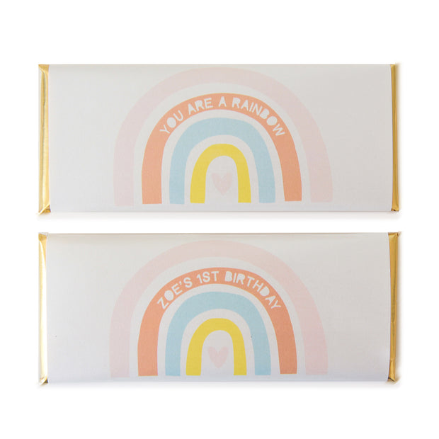 Rainbow and Heart - Personalized Candy Bar Wrapper and Foil