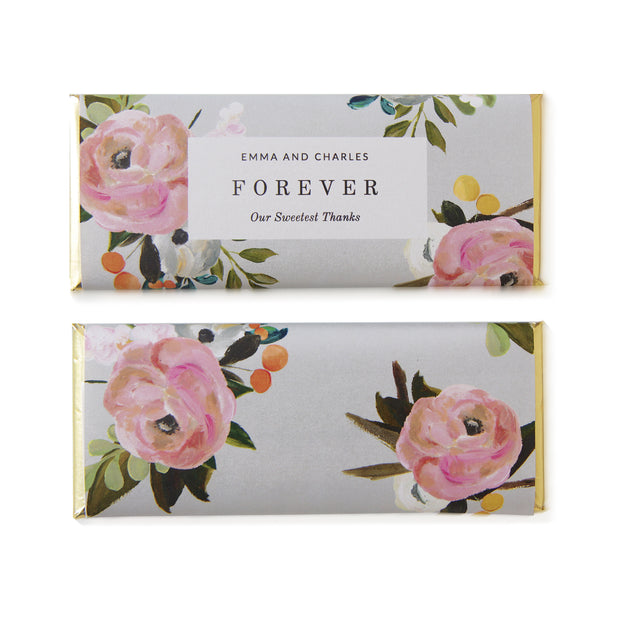 Multicolor Floral Bouquet- Personalized Candy Bar Wrapper and Foil