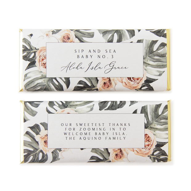 Tropical Bohemian Floral Monstera - Personalized Candy Bar Wrapper and Foil