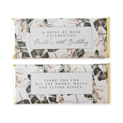 Tropical Bohemian Banana Leaf Anthurium -  Personalized Candy Bar Wrapper and Foil