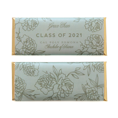 Floral Outline Personalized Candy Bar Wrapper featured in Pale Green and Silver Sage Colors with Gold Foil | Graduation Favor