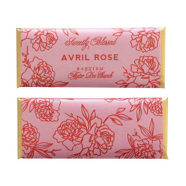 Floral Outline Personalized Candy Bar Wrapper featured in Bubblegum Pink and Orange Colors with Gold Foil | Christening and Baptism Favor