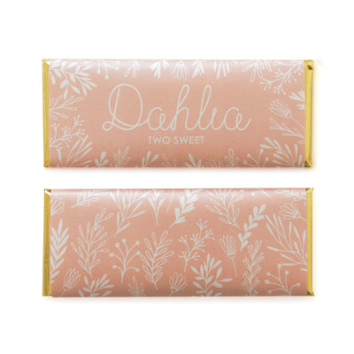 Spring Meadow Personalized Candy Bar Wrapper featured in Peach color with Gold foil | Kid Birthday Favor
