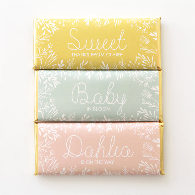 Spring Meadow Personalized Candy Bar Wrapper featured in Mustard Yellow, Pale Green and Peach color with Gold foil | Bridal Shower and Baby Shower Favor