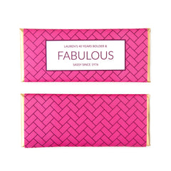 Herringbone Personalized Candy Bar Wrapper - Sweet Paper Shop - Fuchsia, Hot Pink, Aubergine, Gold Copper Foil