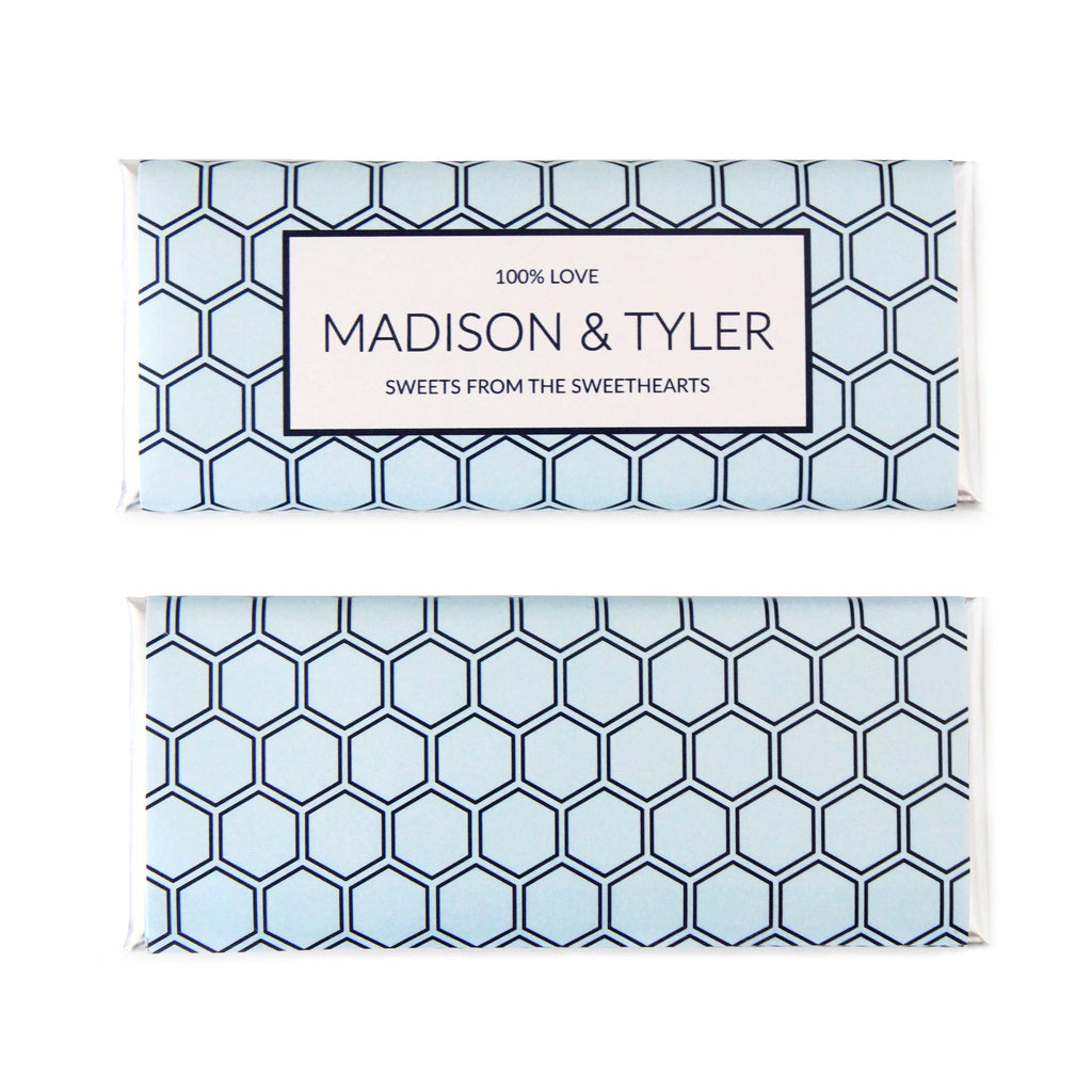 Hexagon Wrapper Personalized Candy Bar Wrapper - Sweet Paper Shop - Sky Blue, Navy, Silver Foil