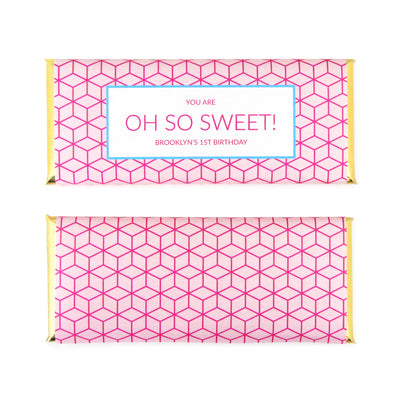 Modern Geometric Personalized Candy Bar Wrapper - Sweet Paper Shop - Pink, Blue, Gold Foil