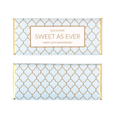 Moroccan Trellis Wrapper Personalized Candy Bar Wrapper - Sweet Paper Shop - Sky Blue, Gold Foil