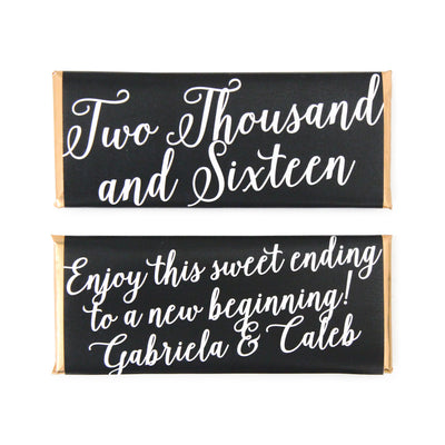 Calligraphy Script Personalized Candy Bar Wrapper - Sweet Paper Shop - Black and White - Copper Gold Foil