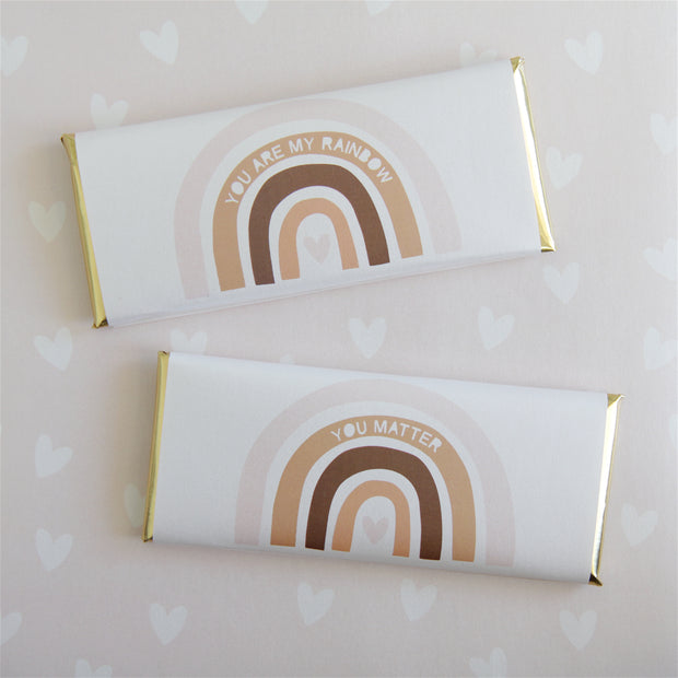 Neutral Earth Colors - Boho - Rainbow and Heart - Personalized Candy Bar Wrapper and Foil