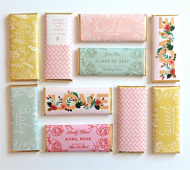 Personalized Candy Bar Wrappers featured in mix of colorful designs for wedding, birthday, baby shower, bridal shower, baptism, graduation | Modern & Affordable Favor Ideas | Sweet Paper Shop