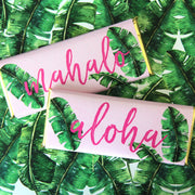 Aloha Hawaiian Personalized Candy Bar Wrapper - Green and Hot Pink Colors and Silver foil with Aloha and Mahalo wording idea - Sweet Paper Shop