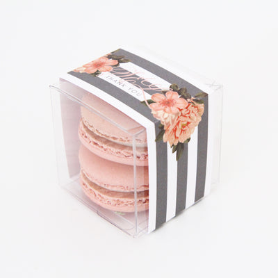 Peach Flowers and Stripes Favor Box - Sweet Paper Shop