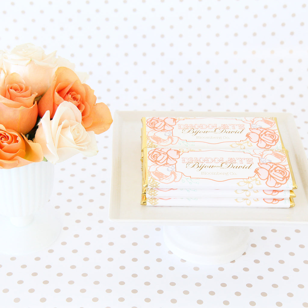 Peach and Blush Vintage Rose Personalized Candy Bar Wrapper - Sweet ...