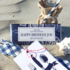 Nautical Seashell Personalized Candy Bar Wrapper - Sweet Paper Shop - Navy Blue, Silver Foil