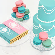 Baby Boy and Girl Silhouette Personalized Candy Bar Wrappers - Sweet Paper Shop - Tiffany Blue and Pink with Gold Foil