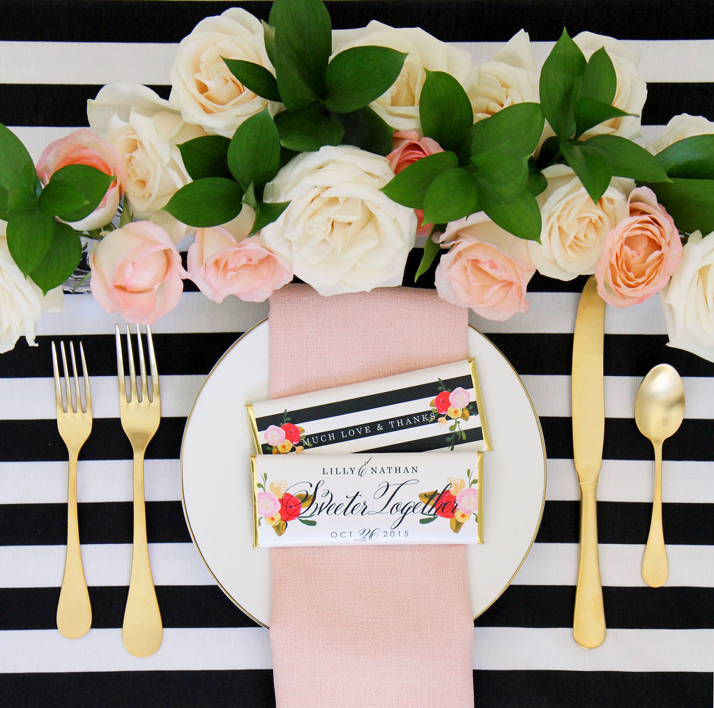 Roses and stripes personalized candy bar wrapper sweet paper shop - Deco baby shower rose ...