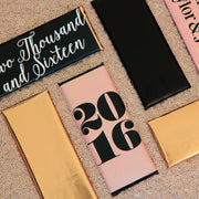Graduation - New Year - Personalized Candy Bar Wrapper - Peach and Black Foil