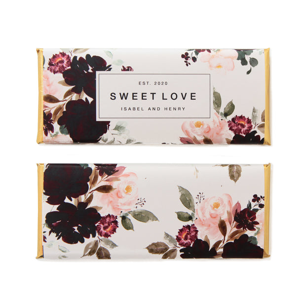 Watercolor Floral Personalized Candy Bar Wrapper in high contrast hues of Dark Burgundy, Berry and Pale Blush Pink shown with Sweet Love Wording and Gold Foil | Custom Chocolate Bar Favor Packaging from Sweet Paper Shop
