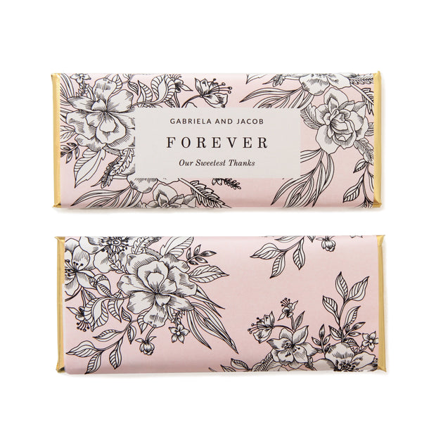 Cascading Floral Bouquet Personalized Candy Bar Wrapper featuring Vintage Black and White Flowers and shown in Whisper Pink background with Gold Foil | Custom Chocolate Bar Favor Packaging from Sweet Paper Shop