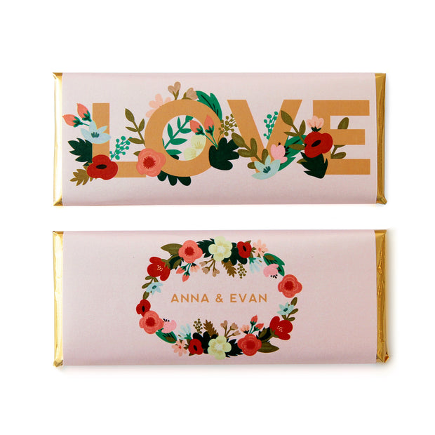 Floral Letters Personalized Candy Bar Wrapper featured in Whisper Pink Background with Gold Foil | Multicolor Florals in Peach, Pink, Red and Green Hues | Wedding and Bridal Shower Favor | Sweet Paper Shop