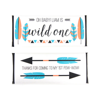 Tribal Feathers & Arrows - Personalized Candy Bar Wrapper - Sweet Paper Shop - Wild One - Boho - Bohemian - Kid's Birthday Party Favor