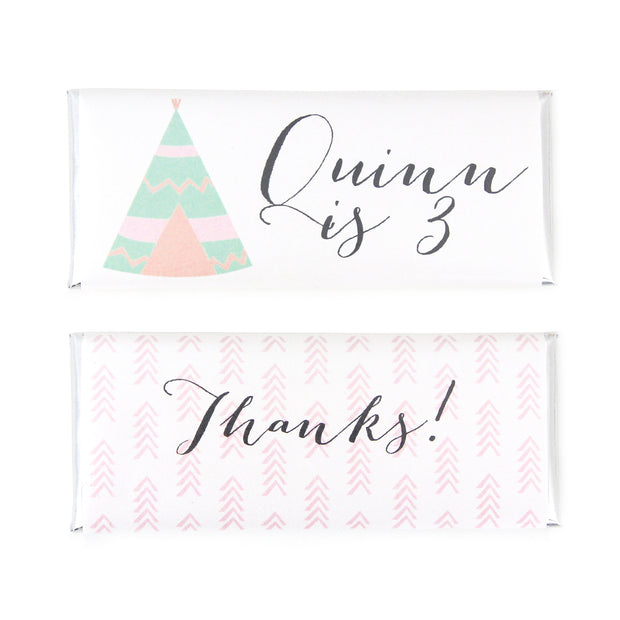 Boho Teepee Personalized Candy Bar Wrapper - Sweet Paper Shop
