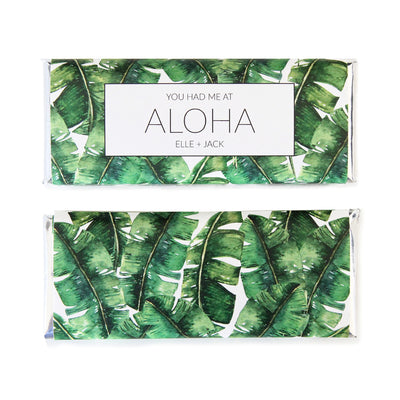 Tropical Banana Leaf Personalized Candy Bar Wrapper - Featured in green colors and silver foil with Aloha wording idea - Sweet Paper Shop