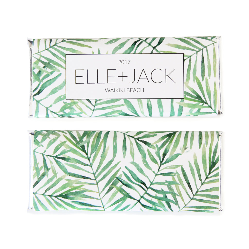 Tropical Palm Leaf Wrapper Personalized Candy Bar Wrapper | Sweet ...