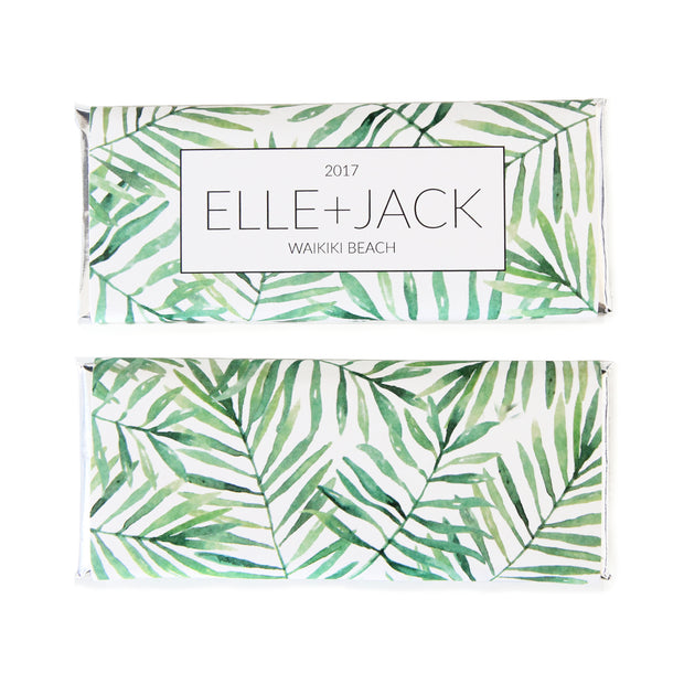 Tropical Banana Leaf Personalized Candy Bar Wrapper - Featured in green colors and silver foil - Sweet Paper Shop