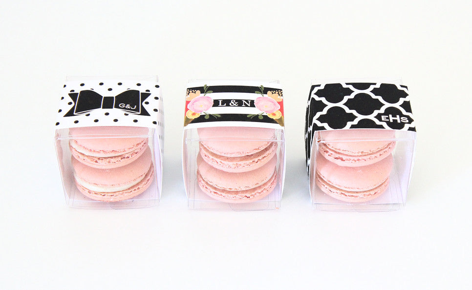 Personalized Macaron Favor Boxes - Black and White Favors - Sweet Paper Shop