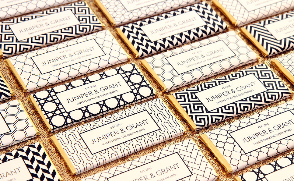 Black and White Geometric Patterned Personalized Candy Bar Wrappers - Favors- Gold Foil - Sweet Paper Shop