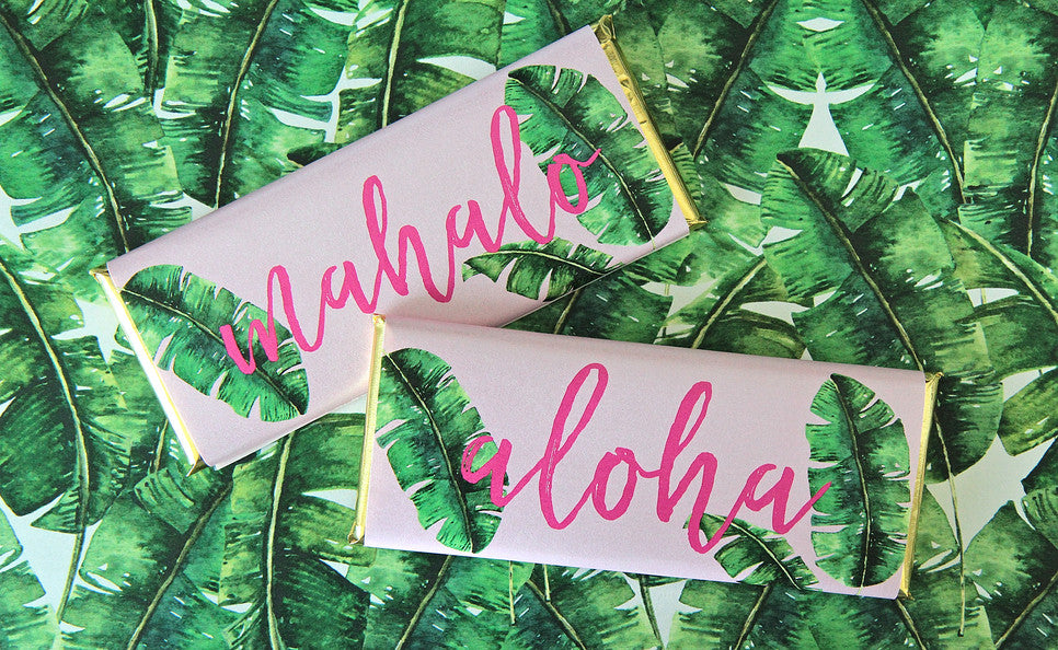 Aloha Hawaiian Personalized Candy Bar Wrappers - Favors - Aloha Mahalo Wording - Silver Foil - Sweet Paper Shop